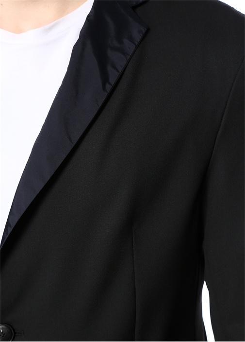 Siyah Lacivert Kelebek Yaka Çift Taraflı Ceket
