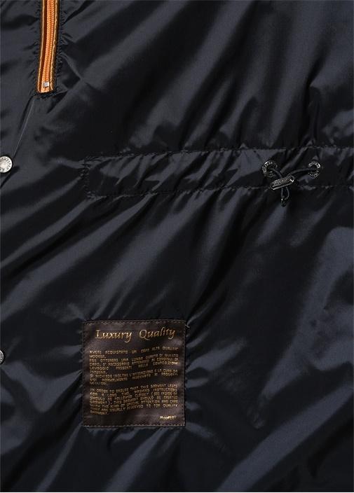 Lacivert Kapüşonlu Dik Yaka Dış Ceket