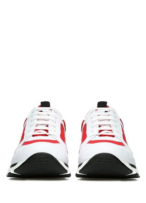 Kırmızı Beyaz Renk Detaylı Kadın Keten Sneaker