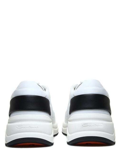 Beyaz Siyah Bant Detaylı Erkek Deri Sneaker