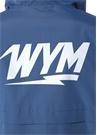 Lacivert Gri Kapüşonlu Logo Baskılı Mont