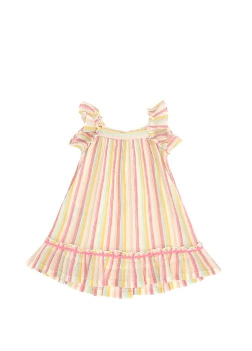 Pembe Beyaz Yakası Fiyonklu Kız Çocuk Elbise