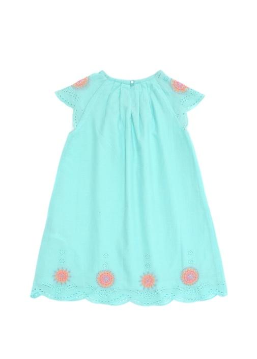 Mavi Güpür Detaylı Kız Çocuk Elbise