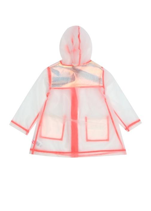 Şeffaf Pembe Kapüşonlu Kız Çocuk Yağmurluk