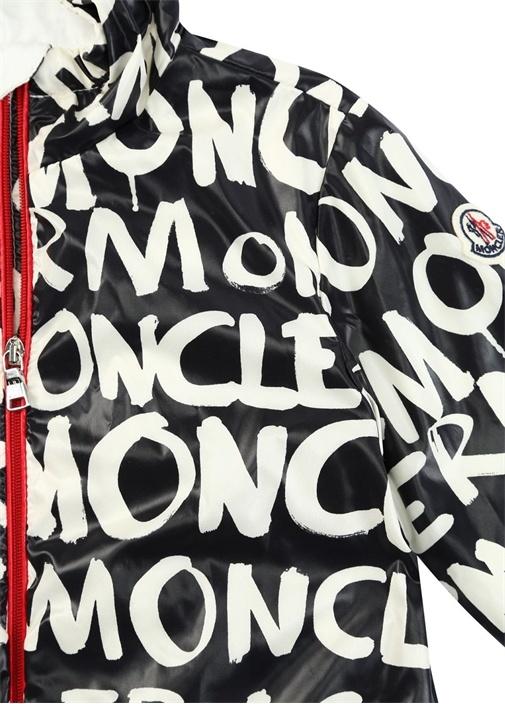 Cosson Siyah Beyaz Logolu Kapüşonlu Bebek Mont