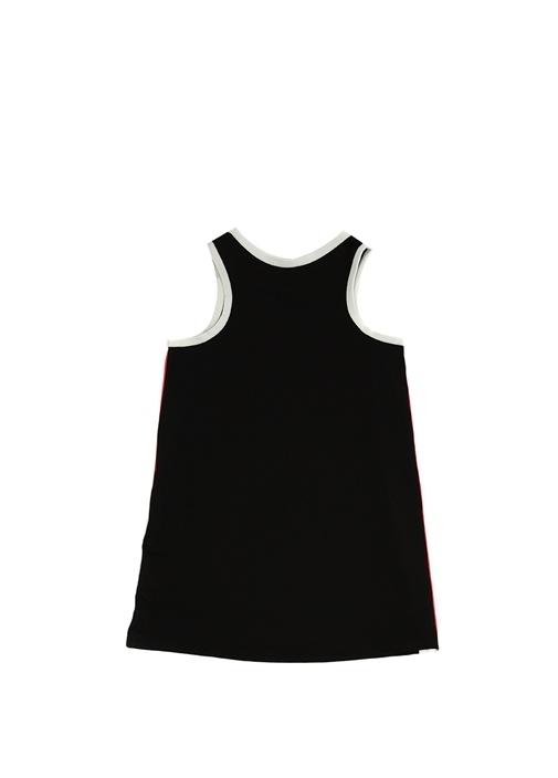 Siyah Bisiklet Yaka Kenarı Logolu Kız Çocuk Elbise