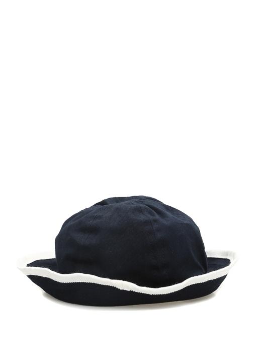 Lacivert Logolu Beyaz Biyeli Unisex Şapka