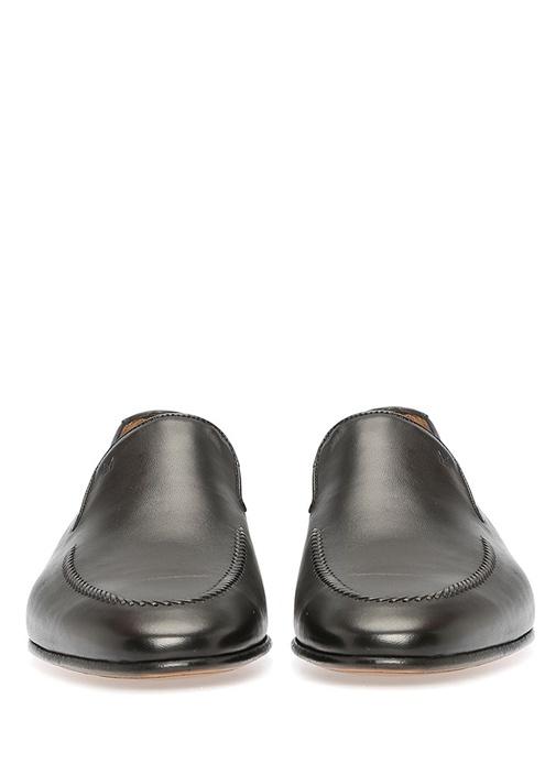 Siyah Logolu Erkek Deri Loafer