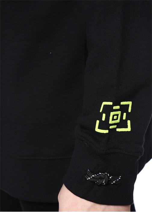 Hanata Siyah Bisiklet Yaka Baskılı Sweatshirt