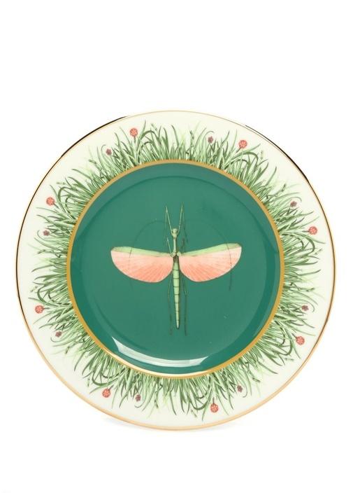 2li Libellula Yeşil Baskılı Seramik Tabak Seti