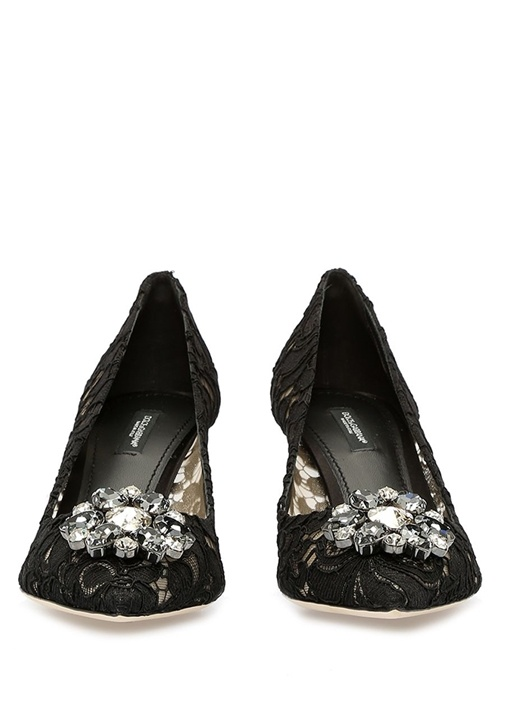 Taormina Siyah Dantelli Kadın Topuklu Ayakkabı