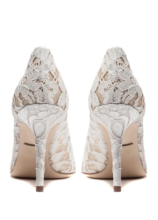 Rainbow Lace Gri Taşlı Topuklu Ayakkabı