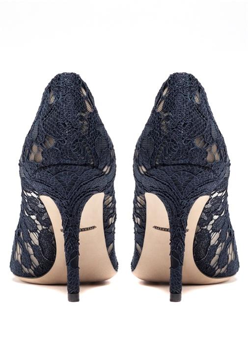 Rainbow Lace Lacivert Taşlı Topuklu Ayakkabı
