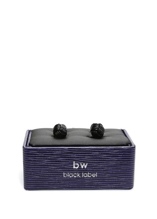 Siyah Silver Düğüm Formlu Kol Düğmesi