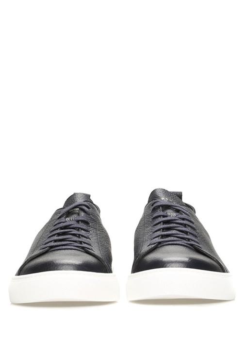 Bryan Lacivert Logolu Erkek Deri Sneaker