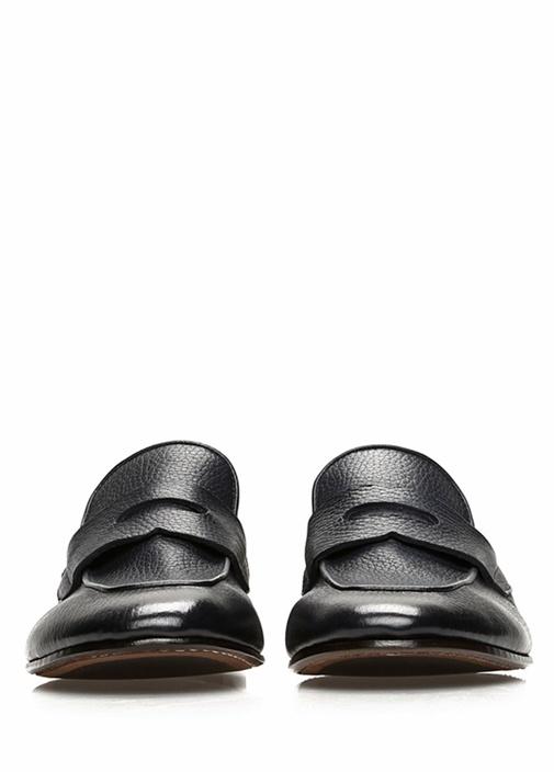 Lacivert Bantlı Dokulu Erkek Deri Loafer