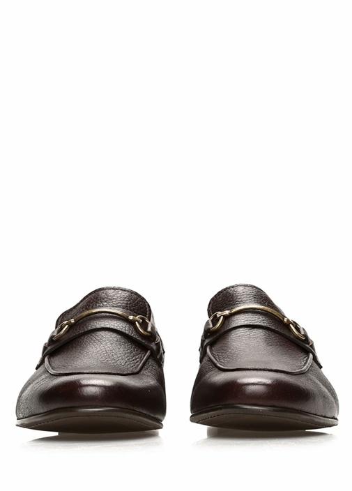 Kahverengi Gold Tokalı Erkek Deri Loafer