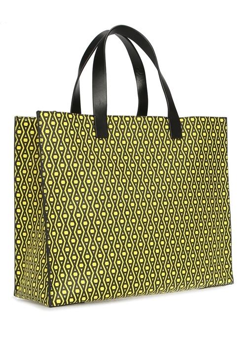 Monogram Siyah Sarı Desenli Alışveriş Çantası