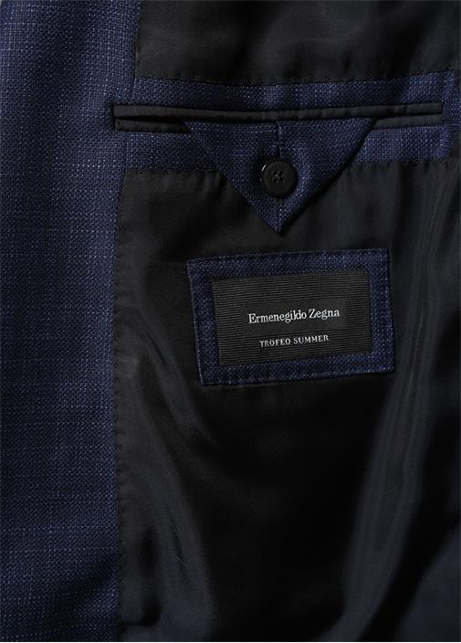 Drop 7 Lacivert Silik Kare Desenli Yün Ceket