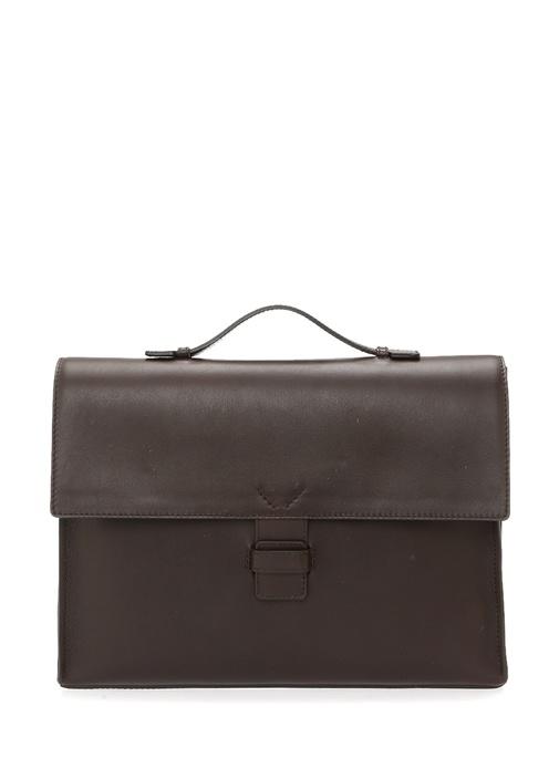 Kahverengi Logolu Erkek Deri Çanta