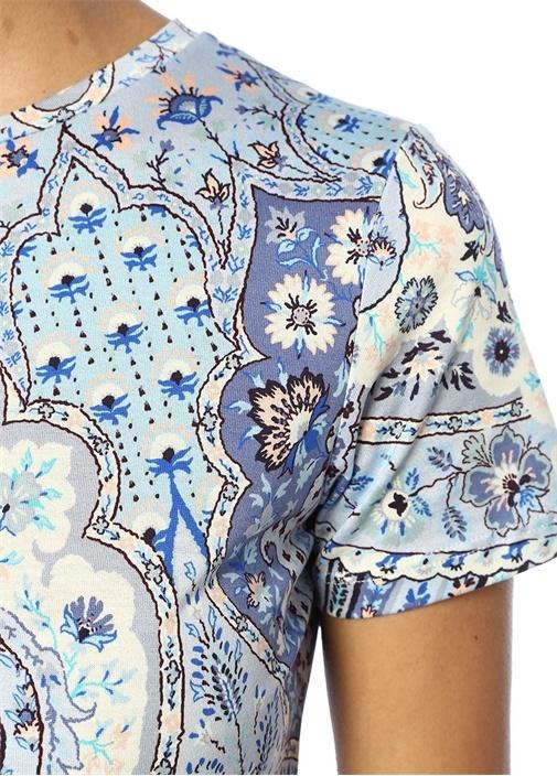 Mavi Bisiklet Yaka Şal Desenli T-shirt