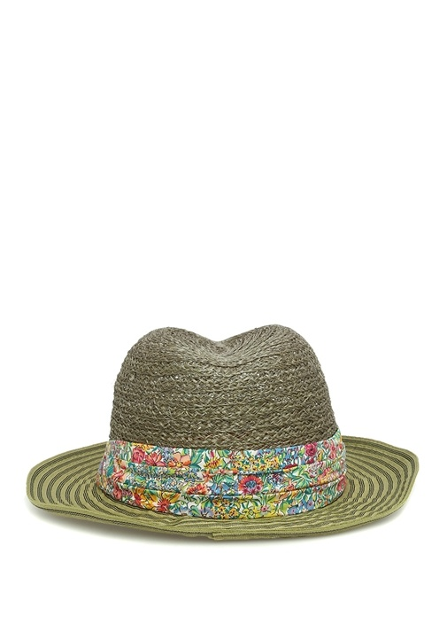 Yeşil Çiçekli Kemerli Hasır Dokulu Erkek Şapka