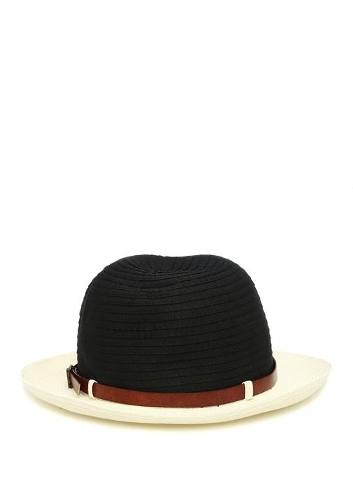 Siyah Beyaz Hasır Doku Detaylı Erkek Şapka