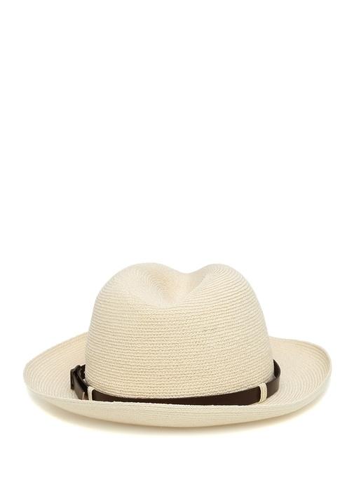 Beyaz Kemer Detaylı Hasır Dokulu Erkek Şapka