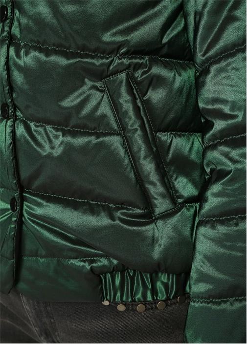Yeşil Kapüşonlu Tafta Puff Mont
