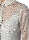 Lila Papatya Desenli Midi Şifon Gömlek Elbise