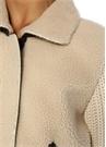 Bej Shearling Deri Detaylı Örgü Triko Ceket