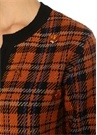 Turuncu Siyah Ekoseli Taş İşlemeli Tweed Hırka