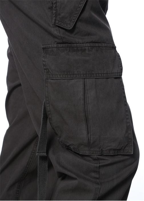 Antrasit Yüksek Bel Paça Detaylı Pantolon