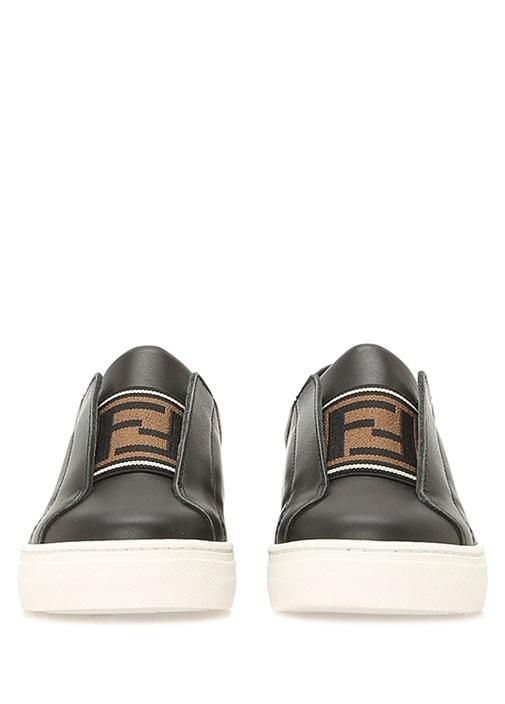 Siyah Logo Detaylı Unisex Deri Çocuk Sneaker