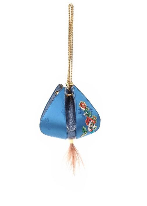 Cindy Mavi Çiçek Nakışlı Kadın Büzgülü Çanta