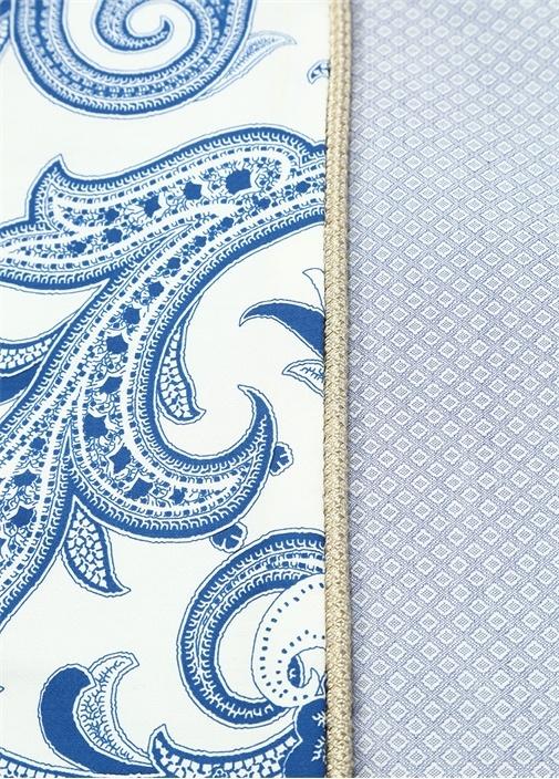 Mavi Beyaz Şal Baskılı Çift Kişilik Yatak Örtüsü