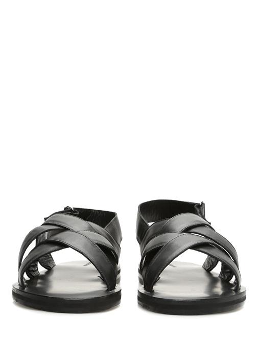 Siyah Çapraz Bant Detaylı Erkek Deri Sandalet