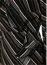 Siyah Çizgili Volanlı Midi İpek Anvelop Elbise