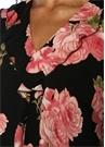 Siyah Pembe Gül Desenli Midi Elbise