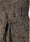 Kahverengi V Yaka Puantiyeli Midi İpek Elbise