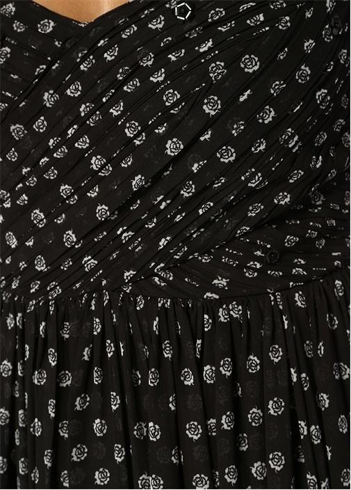 Siyah İnce Askılı Çiçekli Midi Şifon Elbise