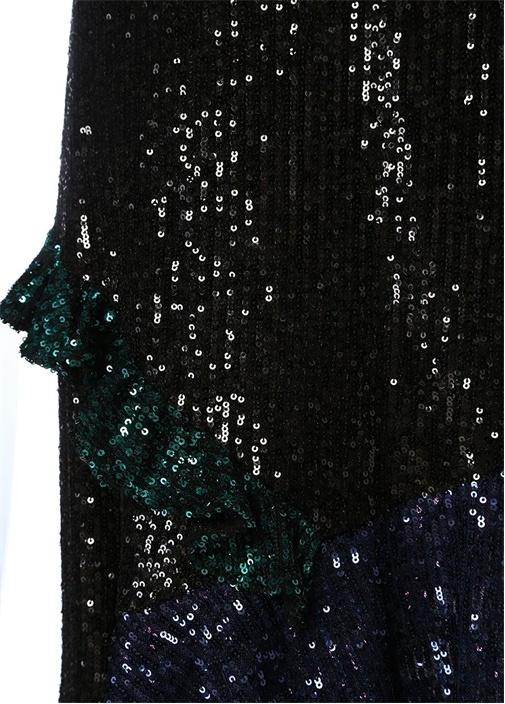 Siyah Asimetrik Volanlı İşlemeli Mini Etek