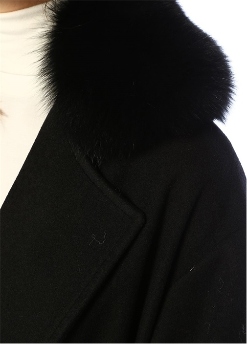 Siyah Suni Kürk Yaka Detaylı Kuşaklı Yün Palto