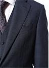Drop 7 Lacivert Ekoseli Yelekli Yün Takım Elbise