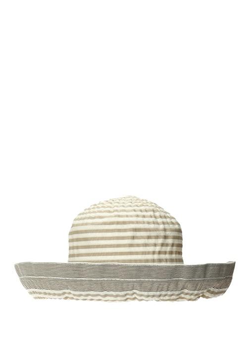 Bej Ekru Çizgi Dokulu Erkek Şapka
