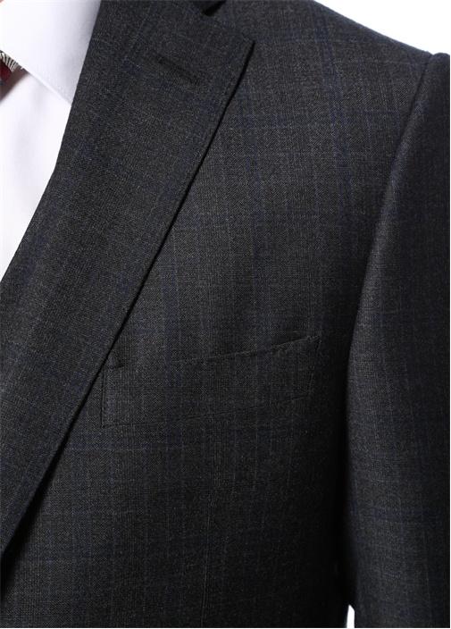 Drop 7 Antrasit Yelekli Kareli Yün Takım Elbise