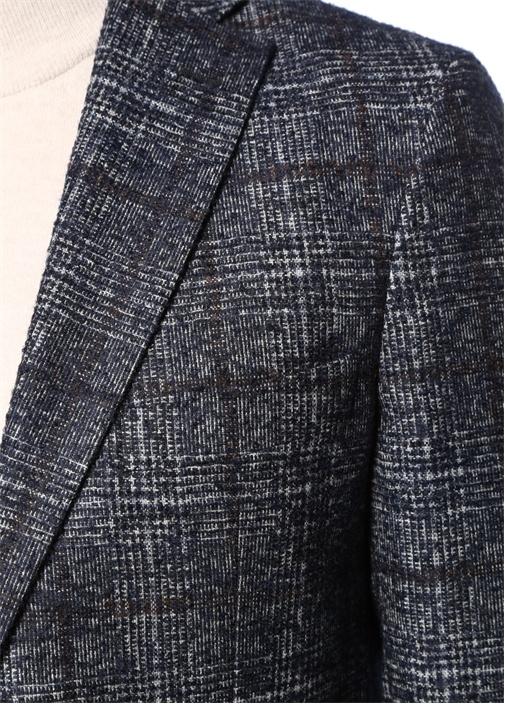 Drop 7 Lacivert Ekose Desenli Soft Ceket