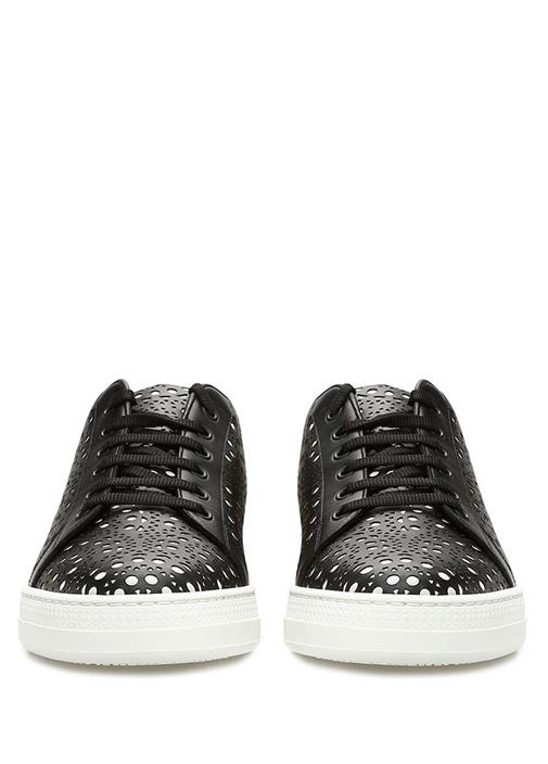 Siyah Beyaz Lazer Kesim Detaylı Kadın Deri Sneaker