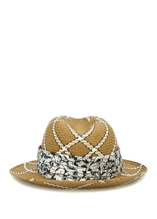 Kahverengi Desen Detaylı Hasır Dokulu Kadın Şapka