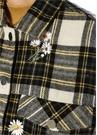 Shearling Yaka Ekoseli Çiçek Nakışlı Ceket